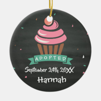 Adopted Cupcake - Custom Name Date Ceramic Ornament