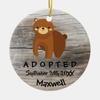 Adopted - Customized Brown Bear Adoption Gift Ceramic Ornament