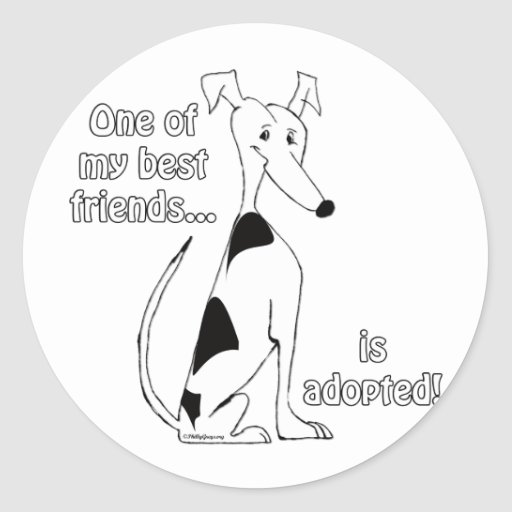 Adopted~WhiteandBlack Round Stickers
