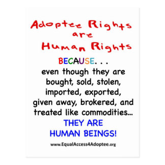 Adoptee Rights Are HUMAN Rights Postcard