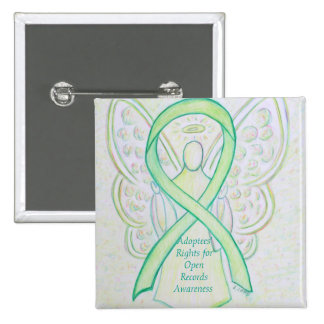 Adoptees' Rights for Open Records Angel Ribbon Pin 2 Inch Square Button