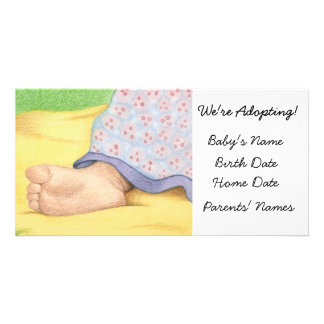 Adoption Announcement Baby Foot Personalized Photo Card