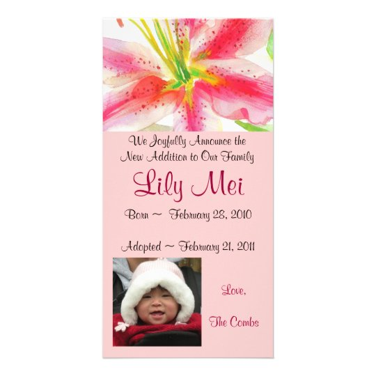 Adoption Announcement Lily Photo Card