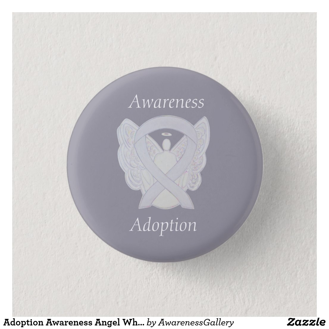 Child Adoption Awareness Guardian Angel White Ribbon Custom Pins