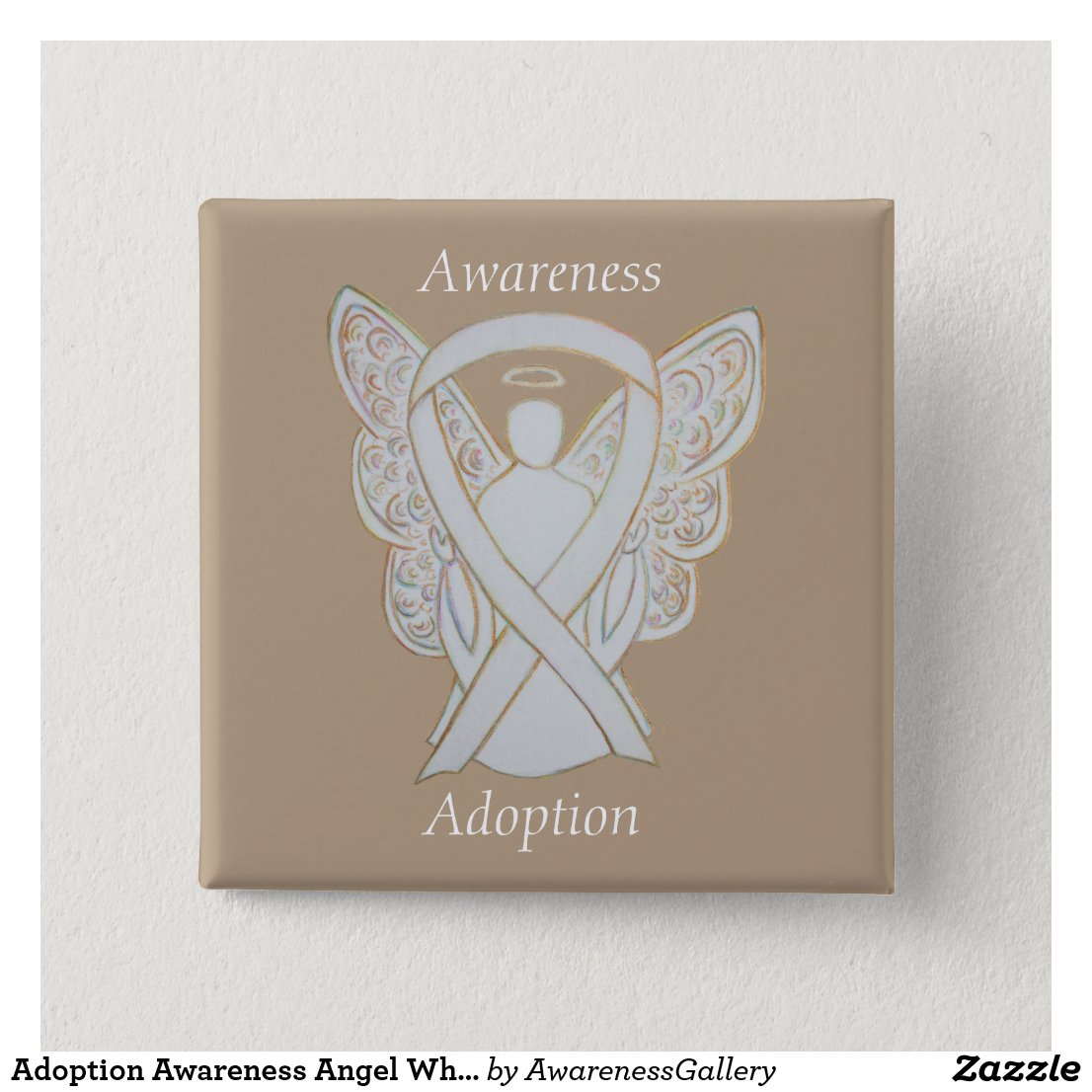 Child Adoption Awareness Angel White Ribbon Custom Pin