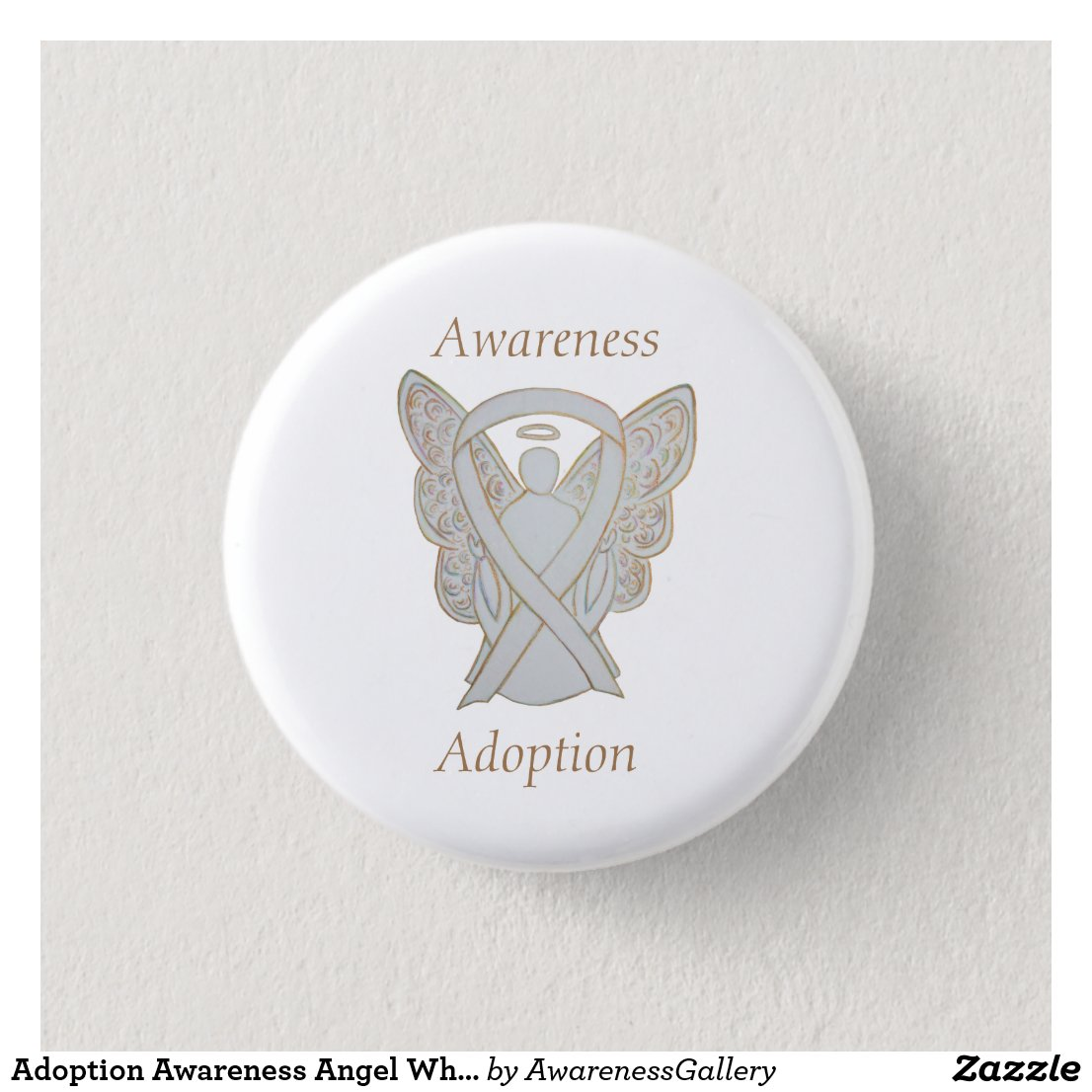 Child Adoption Awareness Guardian Angel White Ribbon Custom Pin