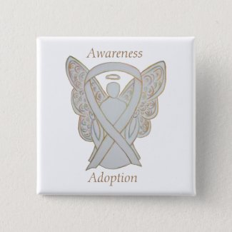 Child Adoption Awareness Angel White Ribbon Custom Pins or Buttons