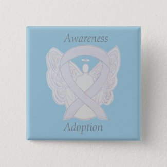 Childhood Adoption Awareness Angel White Ribbon Custom Pin