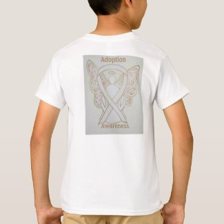 Child Adoption Awareness White Ribbon Guardian Angel Customized Tee Shirts