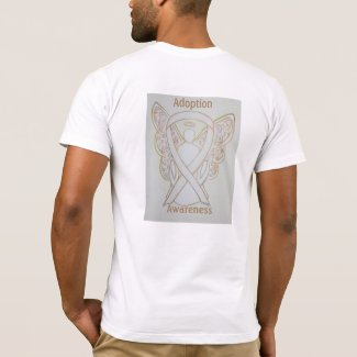 Child Adoption Awareness White Ribbon Guardian Angel Custom Tee Shirts