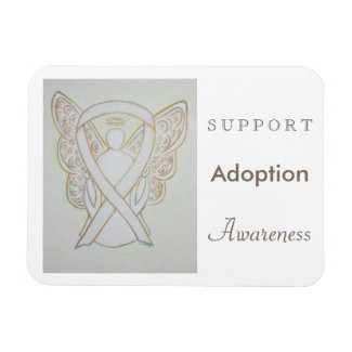Child Adoption Awareness White Ribbon Angel Magnet