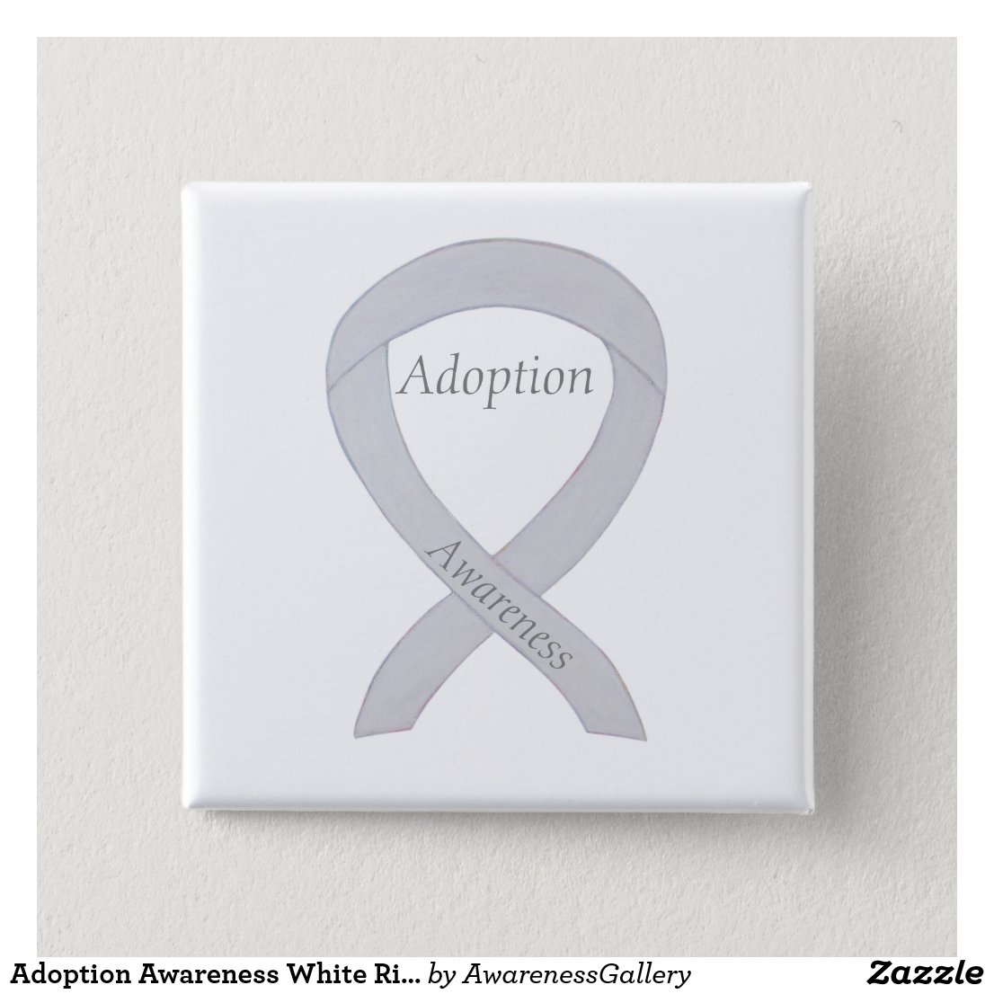 Child Adoption Awareness White Ribbon Personalized Pins or Buttons