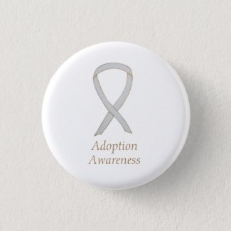 Child Adoptions Awareness White Ribbon Custom Pin or Buttons