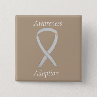 Child Adoption Awareness White Ribbon Custom Pin or Button