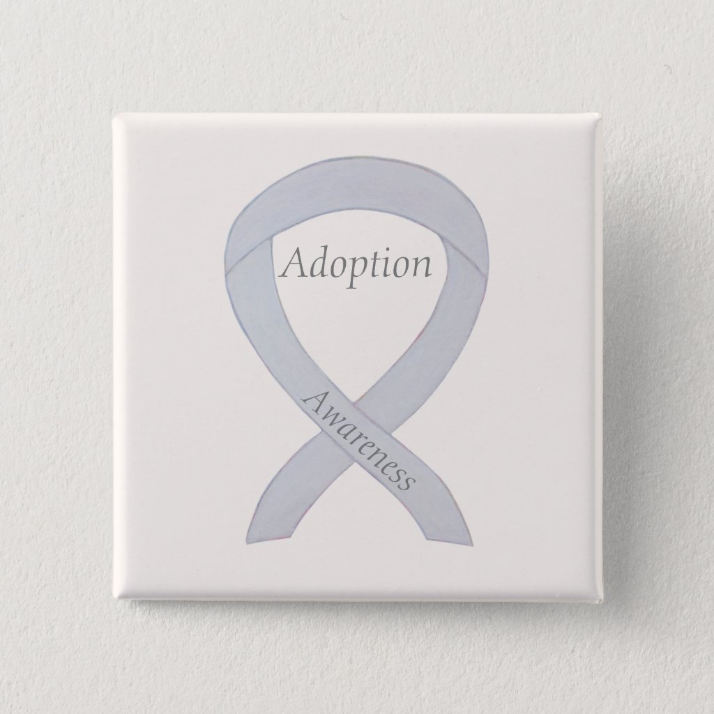 Child Adoption Awareness White Ribbon Custom Button or Pin