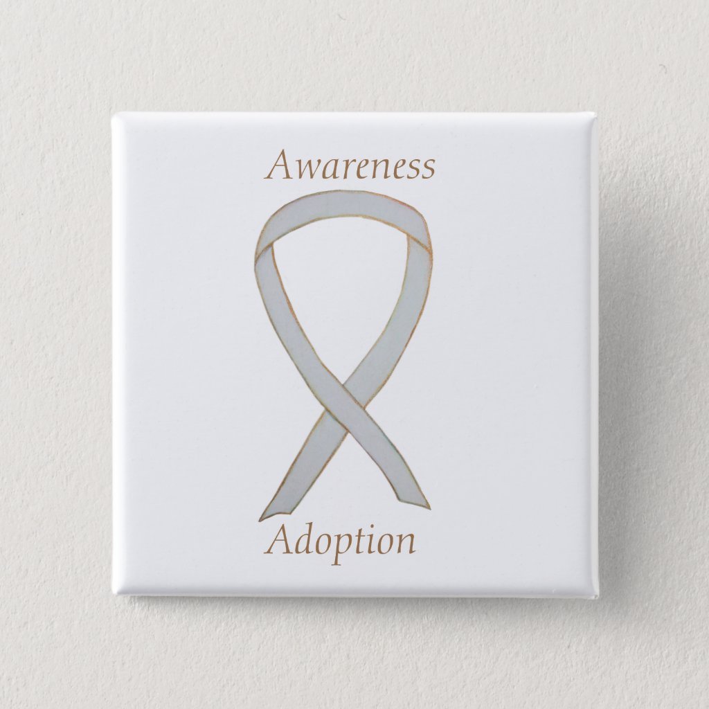 Child Adoption Awareness White Ribbon Custom Pins or Buttons