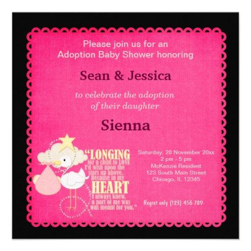 adoption baby shower girl square invitation card zazzle
