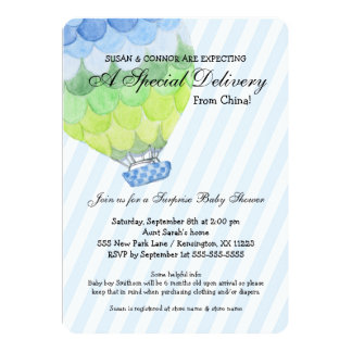 Adoption Boy Baby Shower, blue hot air balloon Card