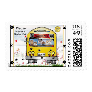 Adoption Bus for Cat's & Dog's Postcard Stamps