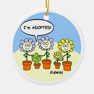 Adoption Cartoon Funny Custom Christmas Tree Ceramic Ornament