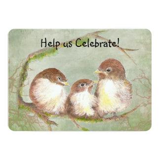 Adoption Celebration Party Sweet Bird Family Art 5x7 Paper Invitation Card