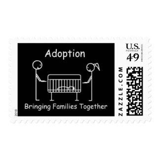 Adoption Crib BlackWhite Postage Stamp