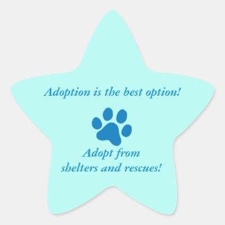 Adoption it the Best Option Blue Paw Print Star Sticker