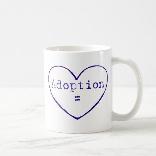 Adoption = love in blue coffee mug