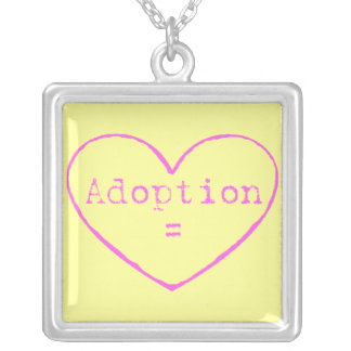 Adoption = love pink on yellow square pendant necklace