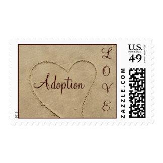 Adoption Love Sand Heart Postage Stamp