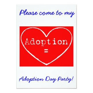 "Adoption = Love White Adoption Day Party Invite 5"" X 7"" Invitation Card"