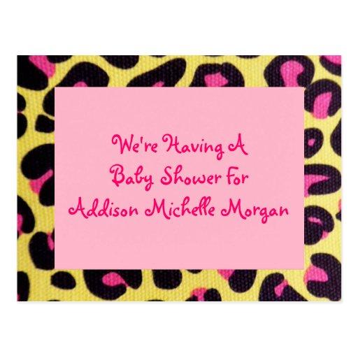 Adoption or Birth Announcement Pink Leopard Postca Postcard