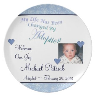 Adoption Photo Plate with Blue Hearts