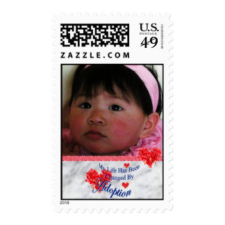 Adoption Photo Postage Stamp with Hearts