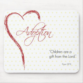 Adoption, Religious, Yellow Dots with Red Heart Mouse Pad