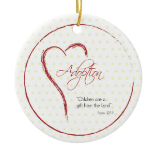 Adoption, Religious, Yellow Dots with Red Heart Christmas Tree Ornaments