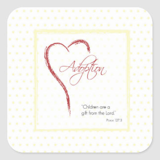 Adoption, Religious, Yellow Dots with Red Heart Square Sticker