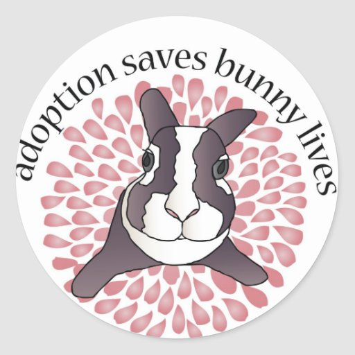 Adoption Saves Bunny Lives Round Sticker