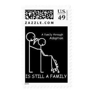 Adoption Stroller BlackWhite Postage Stamp