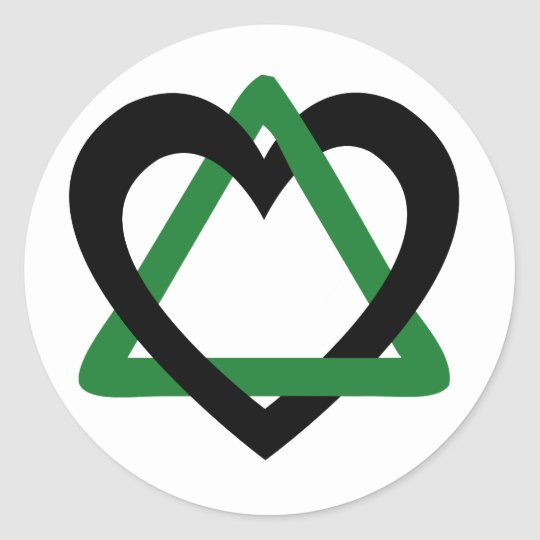 Adoption Triangle Black Green Classic Round Sticker