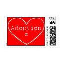 adoption=white on red stamp