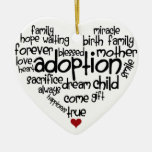 Adoption-words Double-Sided Heart Ceramic Christmas Ornament