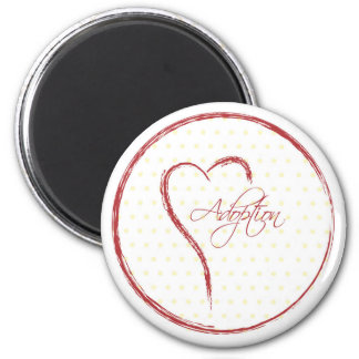 Adoption, Yellow Dots with Red Heart Fridge Magnets