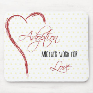 Adoption, Yellow Dots with Red Heart Mouse Pad