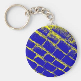 Adoquines amarillos azules invertidos llavero redondo tipo pin