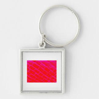 Adoquines rosados invertidos llavero cuadrado plateado