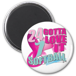 Adorable 24 7 Peace Love Girls Softball Design 2 Inch Round Magnet