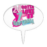 Adorable 24 7 Peace Love Girls Softball Design Cake Toppers