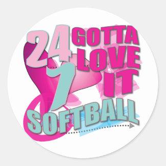 Adorable 24 7 Peace Love Girls Softball Design Classic Round Sticker