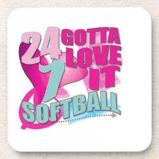 Adorable 24 7 Peace Love Girls Softball Design Drink Coaster